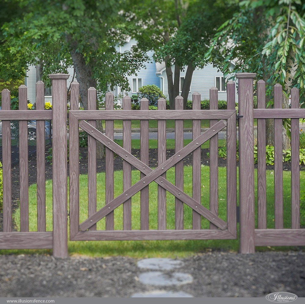 Beautiful PVC Vinyl Wood Grain Fence Gates from Illusions Vinyl Fence
