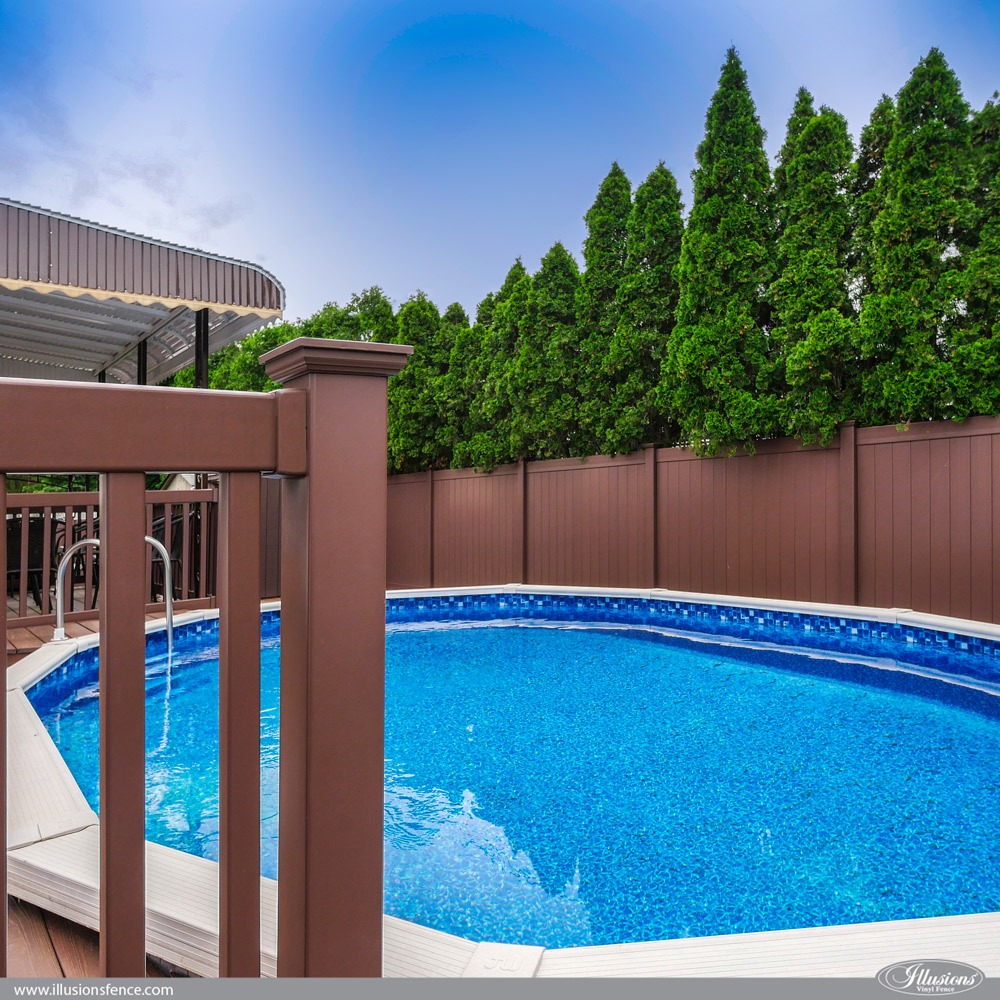 Brown Illusions PVC Railing and Matching Privacy Fence