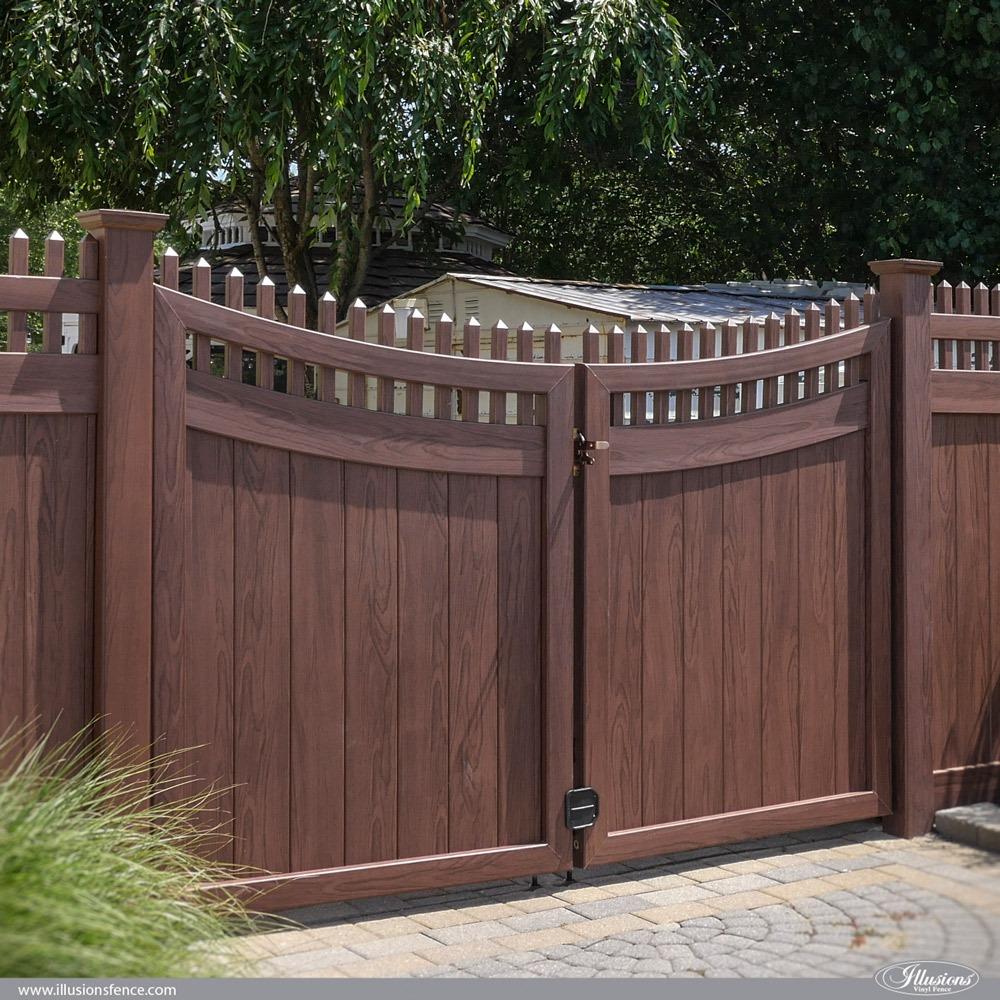 Custom PVC Vinyl Grand Illusions Rosewood Privacy Gates