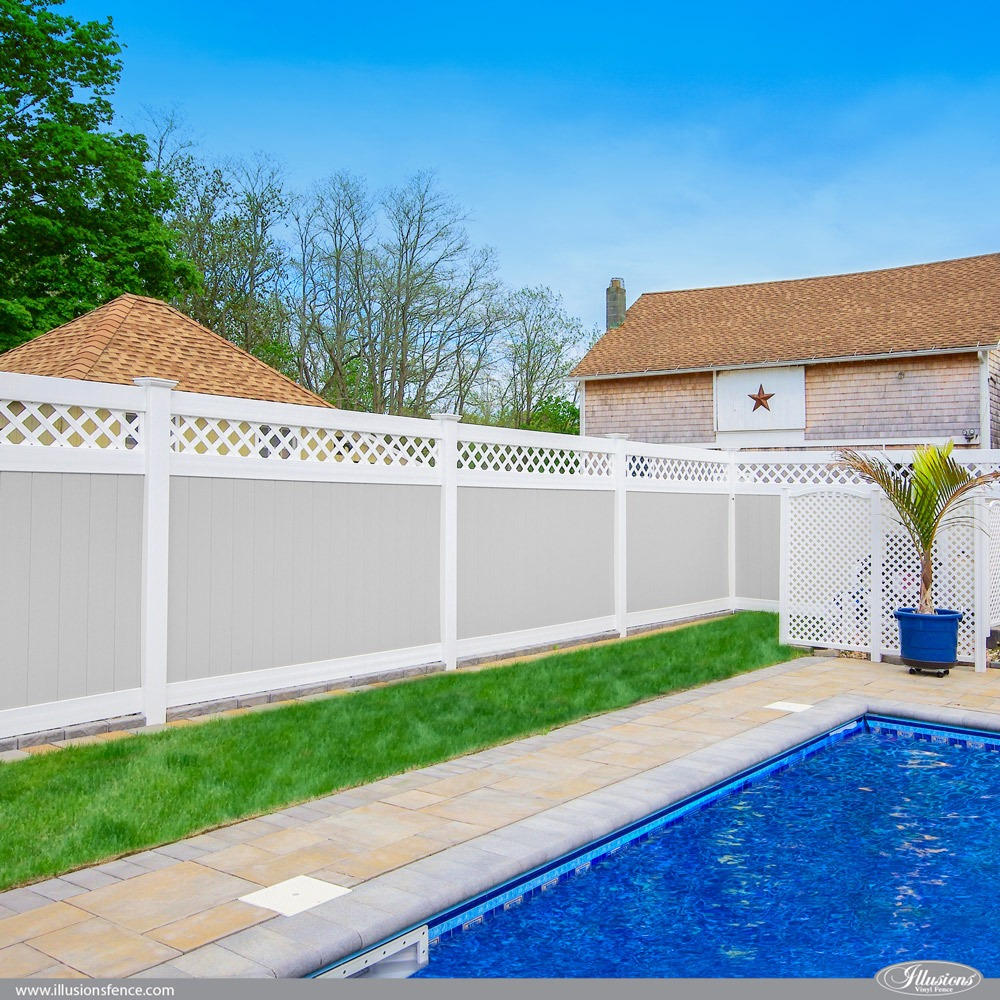 Gray and White Illusions PVC VInyl Privacy Fence