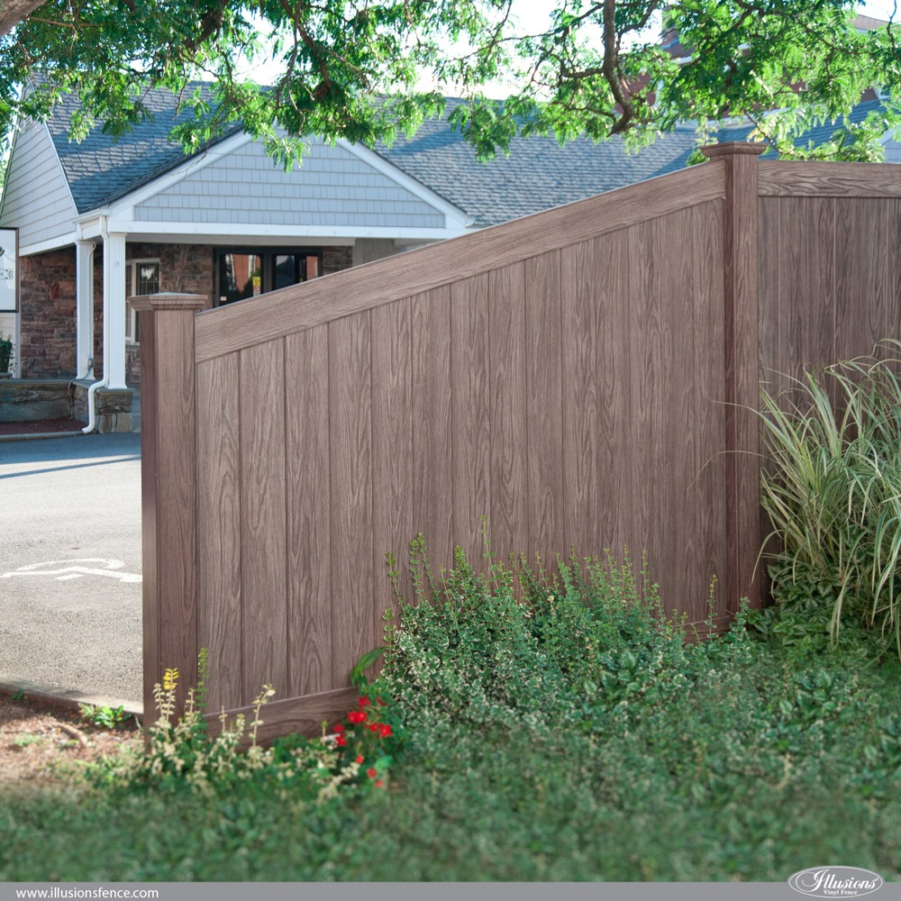 Illusions Walnut PVC VInyl Taper Privacy Fence Section